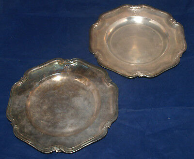 Vintage Pair Of Christofle Silver Plated Plates France Scalloped Rim Monogrammed