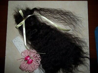 """**SOFT BLACK""""~VERY CURLY 10-12in. FOR REBORN~SILKY~1/2 OZ~YEARLING ANGORA MOHAIR"""