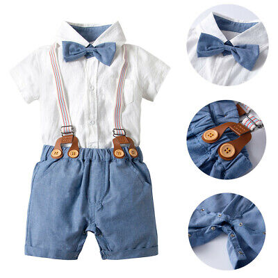 25efd8e12 Infant Baby Boy Gentleman Suit Bow Tie Shirt Suspenders Shorts Outfit Set  Toddle