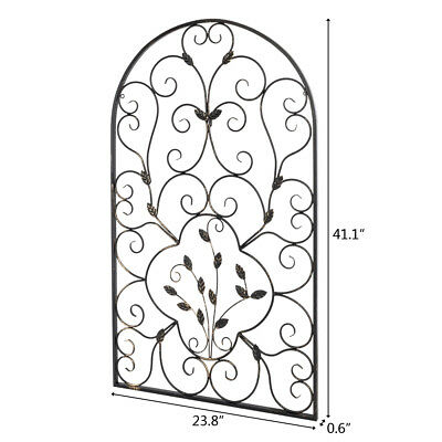 Arched Wrought Iron Wall Art Vintage Tuscan Indoor Outdoor Gate Decor