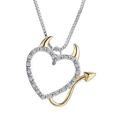 Women ChCrystal Love Devil Heart Pendant Necklace Charm Chain Jewelry Gift Party