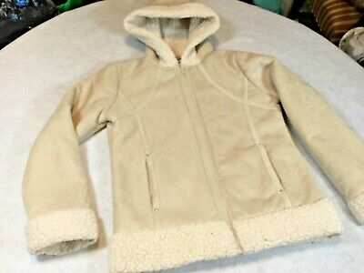 KC Collections Girls Sz 14 Cream Colored Zip Jacket Soft Sheep Skin Faux Suede