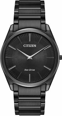 Men's Citizen Stiletto Ultra Thin Black Steel Watch AR3075-51E