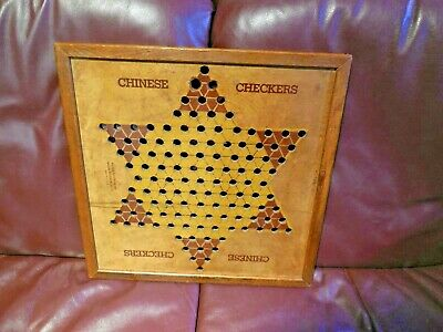 Primitive Antique Vtg Wood Frame Star Chinese Checkers Game  parker bro 16 1/2 s