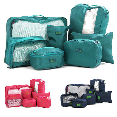 UK 7PCS Cube Travel Luggage Storage Bag Packing Clothes Socks Makeup Organizer