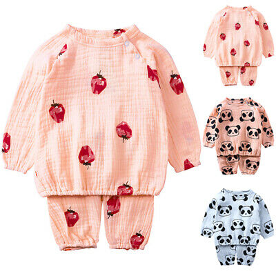 Cute Kids Baby Boys Girl Clothes Cartoon Top Pants Tracksuit Outfits 2pcs Sets