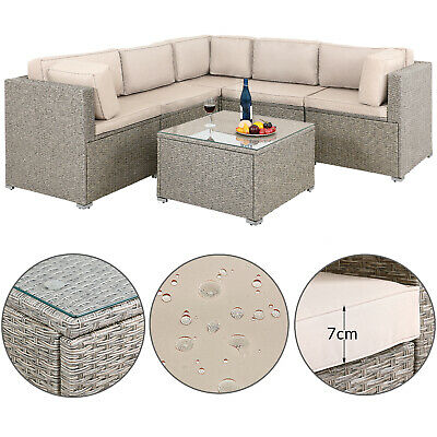 Poly Rattan Corner Set Garden Furniture Sofa Patio XXL Wicker Grey Beige Outdoor