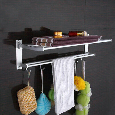 Stainless Steel Wall Mounted Bathroom Towel Rack Rail Holder Storage Shelf Trend