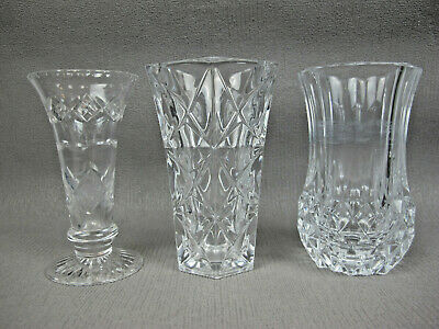 """3 x vintage cut crystal glass FLOWER VASES for Tulips Daffodils. Medium 5"""" size."""