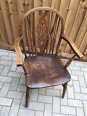 1 Antique ash/elm Windsor Wheelback carver chair