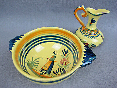 Vintage HENRIOT QUIMPER hand painted yellow Pottery Lot: Bowl and Jug. France.