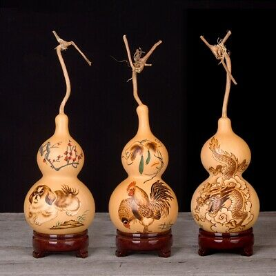 natural gourd Exquisite Ornament Handmade pyrograph Chinese Zodiac Crafts #012