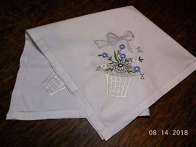 """#789 Embroidered Table Cloth Lovely Gray Blue Floral Basket  29.50""""x30"""""""