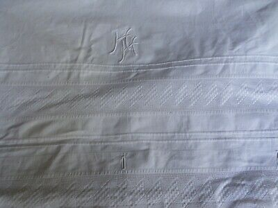 SUPERB French Unusual SHEET /CURTAIN /BED COVER  Antique Vtg.Initials  HH & Lace