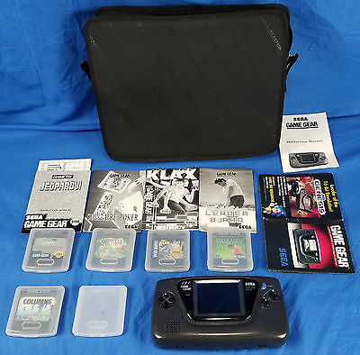AS IS:READ Sega Game Gear Vintage Black Handheld Console System Games Lot Combo
