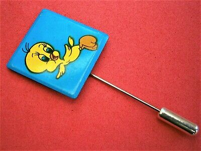 BT891*) Vintage Tweety pie budgie Warner Brothers cartoon 1970s lapel Pin badge