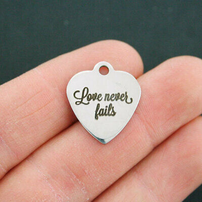 Love Stainless Steel Charm - Love Never Fails - Quantity Options - BFS679