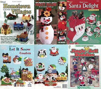 Lot of 5 Christmas Plastic Canvas Pattern Booklets, 50+ Projects NEW