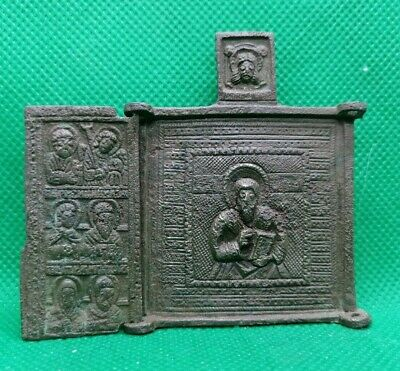 Authentic Post Medieval Bronze Christian Icon Depicting Saints - Rare