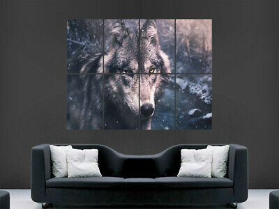Cool Snow Wolf Poster Print Size A4 A3 Winter Wild Animal Poster Gift #13159