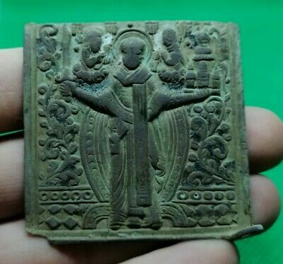 Authentic Post Medieval Bronze Christian Icon Depicting Saint - Rare