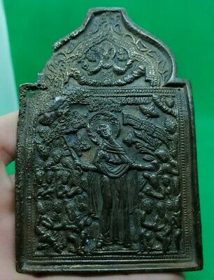 Authentic Post Medieval Bronze Christian Icon Depicting Saints - Beautiful