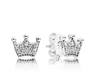 Sterling Silver Earring Enchanted Crown With Crystal Studs Earrings