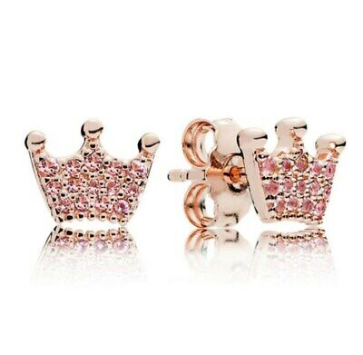 Sterling Silver Rose Gold Earring Enchanted Crown With Crystal Studs Earrings