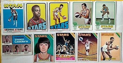 10 x Topps Utah Stars ABA basketball cards 1972-76, Moses Malone rookie leaders
