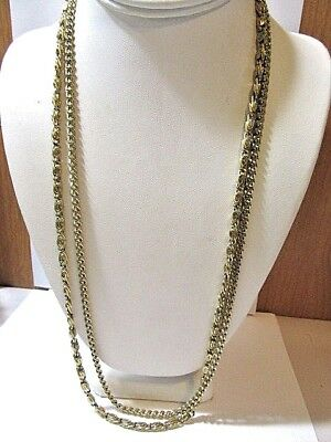 Monet Gold Tone Plated Metal Paperclip And Plain Double Strand Chain Necklace
