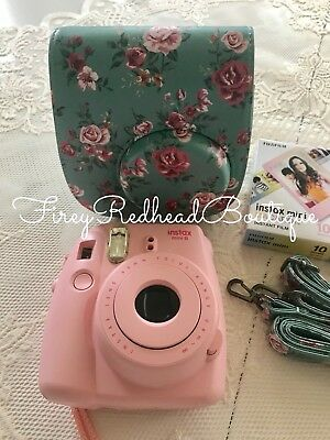 FUJIFILM Instax Mini 8 Pink Instant Camera w/ case & 2 Macaron Film Packs - New!