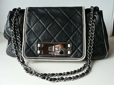 f24400848b77 CHANEL black leather ACCORDION FLAP BAG cross body east west timeless 255