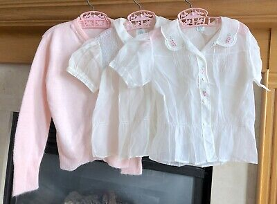 True Vintage 1950's Girl's Sheer Blouse & Sweater Set Matching Outfit Size 6