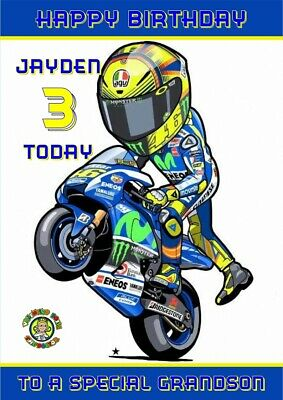 Personalised Moto GP Valentino Rossi Birthday card  any name/relation/age