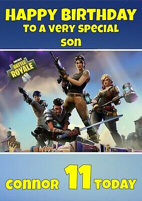 S2 Personalised  Any Age Any Name Gamer Battle Royale Birthday Card