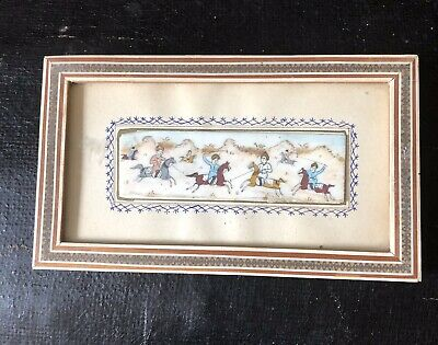Small Hand Painted Picture of a Persian Hunting Scene Signed on Back