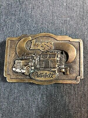 Vintage 1976 Tonkin Peterbilt Class Truck Brass Belt Buckle (used) Free Ship