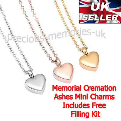 Mini Heart Cremation Ashes Urn Pendant - Keepsake Necklace - Memorial Jewellery