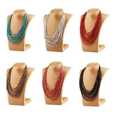 Boho Women Seed Beads Necklace Long Multi Layer Chain Bib Statement Jewelry