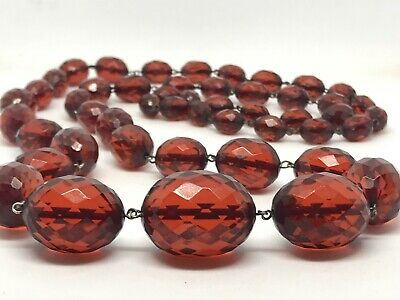 Vintage CHERRY AMBER RED LONG NECKLACE Bakelite Faceted Oval Beads on Wire