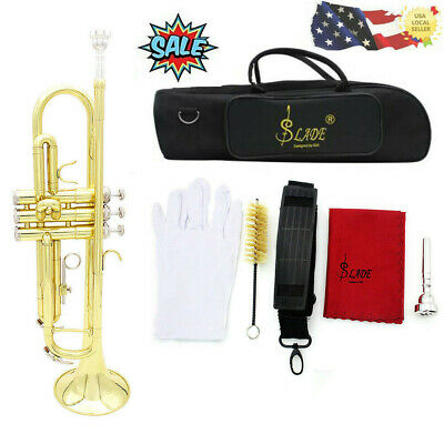Bb Trumpet Brass Gold School Band for Beginner Student with all Accessories M2H3