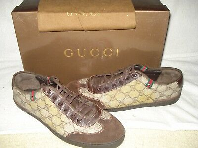 7c346705d 100% Authentic New Men Gucci Gg Web Beige Suede And Canvas Sneakers Uk 9/