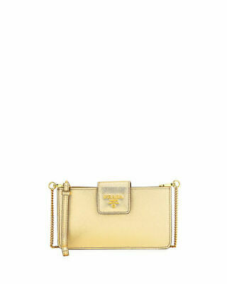 2d7e3ae10a6dba 100% Auth New Prada Saffiano Gold Small Crossbody Tech Iphone Case/Wallet/ Bag