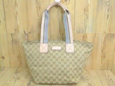 3e4bb33abcc6 GUCCI GG Hand Tote Shoulder Bag 131230 Canvas Beige Pink Italy 20160065600 G