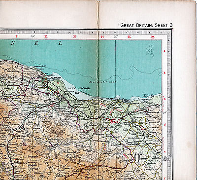 Minehead Watchet Monksilver 1955 small orig part map/lin Dunster Selworthy Exton