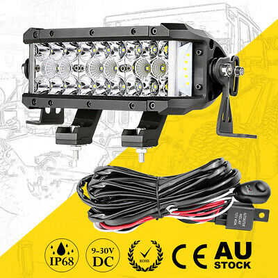 8inch Cree Side Shooter LED LIght Bar Spot Flood 3-Row 6000K+Wiring Loom Harness