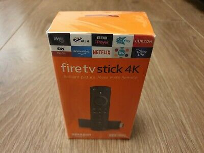 Amazon Fire TV Stick 4K 2019 Ultra HD Alexa Voice Remote Power & Volume UK Plug