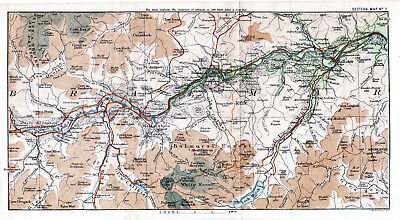 Scotland Ballater Crathie Braemar 1887 small orig map +guide (8 p) Inverey Culsh