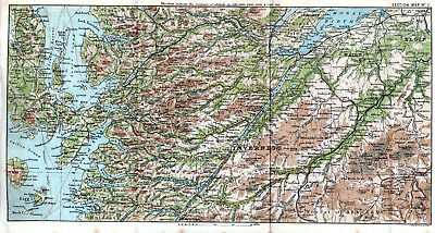 Scotland Inverness Beauly Dingwall 1887 small orig. map + guide (11 p.) Strome