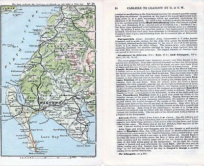 Scotland Wigtown Girvan Stranraer 1887 small orig. map + guide (3 p) Portpatrick